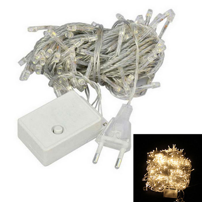 EU Plug 6W 3200K Warm White 100-LED Decorative String Light (9.5m)