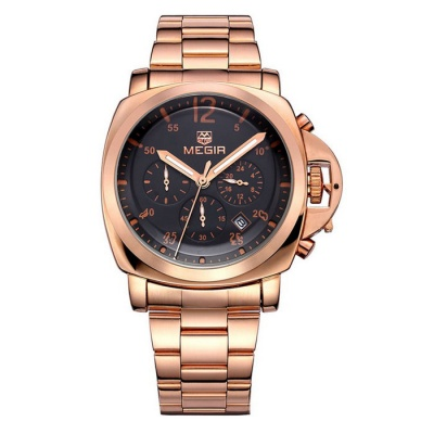 MEGIR Men's Steel Band Quartz Watch w/ Calendar - Rose Gold + Black