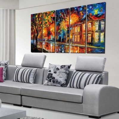 Bizhen Street Lights Paintings Canvas Wall Pictures - Yellow (5PCS)