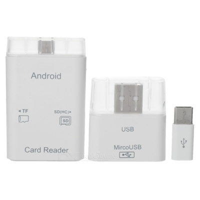 Cwxuan D-337 USB 3.1 / Micro USB Adapter + OTG Card Reader - White