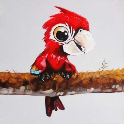 Cute Red Parrot Canvas Art Oil Painting - Red + Black + Multicolored