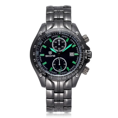SKONE Men's Steel Band Quartz Wrist Watch w/ Calendar - Black + Green