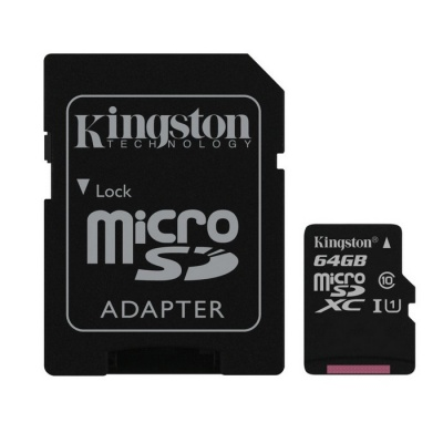 Kingston MicroSD 64GB UHS-I with SD Adapter SDC10G2/64GB