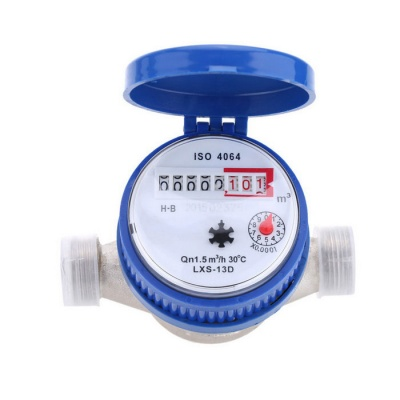 Single Flow Dry Cold Water Table 15mm Water Meter Set - Blue