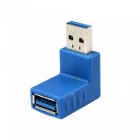 USB 3.0 Male to Female 90 Degree Angled Adapter - Blue