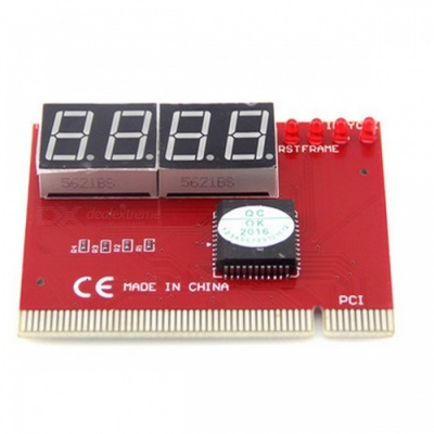 4-Digit PC Computer Motherboard Failure Fault Analyzer Tester - Red