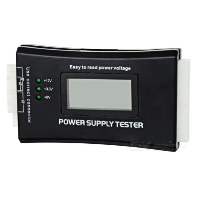 "PC Computer 1.9"" LCD 20/24Pin ATX Power Supply Tester - Black"