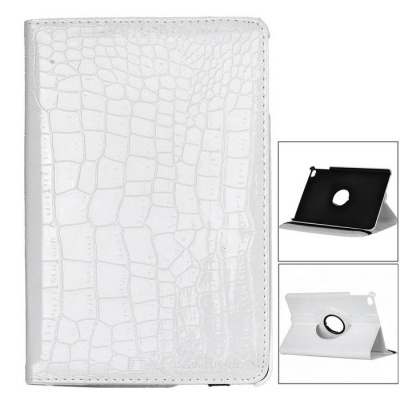Alligator Pattern Rotation Protective PU Case for IPAD MINI 4 - White
