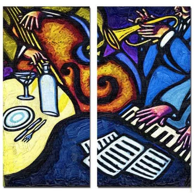 Bizhen Musical Instruments Painting Canvas Wall Decor - Blue (2PCS)