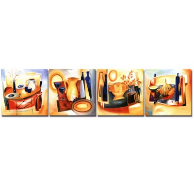 Bizhen Abstract Table Painting Canvas Wall Decor Mural - Orange (4PCS)