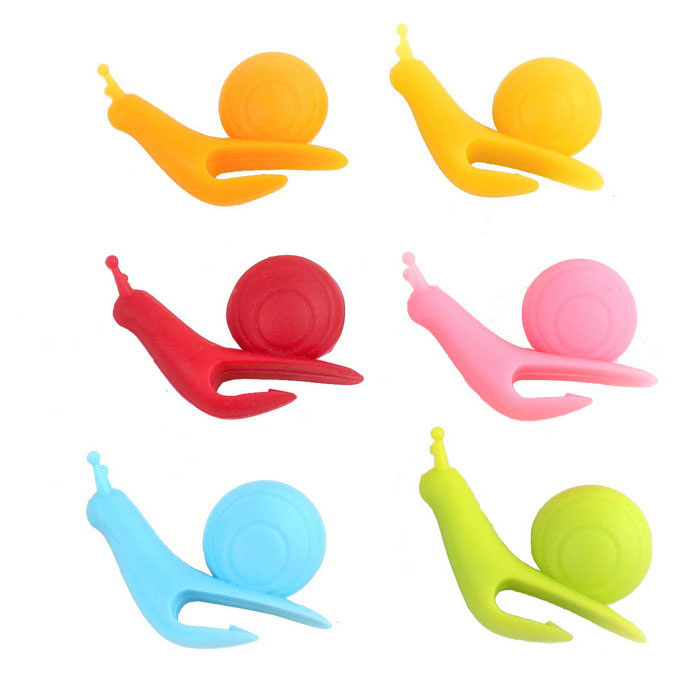 Snail Shape Silicone Cup Mug Edge Tea Bag Holder - Multi-Color (6PCS)