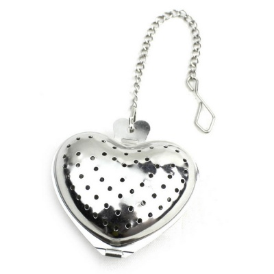 Stainless Steel Heart Tea Holder Strainer Infuser Filter - Silver