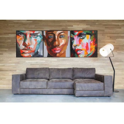 Human Faces Canvas Wall Art Oil Painting - Multicolored (3PCS)