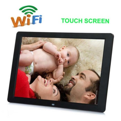 "12"" TFT Touch Wi-Fi HD Digital Photo Frame w/ Remote Control - Black"