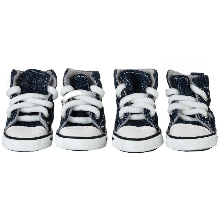 Anti-Slip Canvas + Rubber Pet Dog Shoes - Blue + White (4PCS)