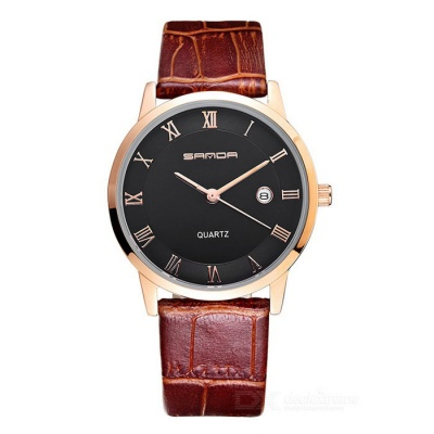 SANDA 3D Dial Leather Strap Watch w/ Calendar - Rose Golden + Black