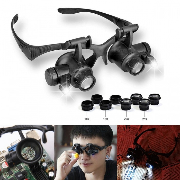 10X 15X 20X 25X Magnifier Magnifying Eye Glasses w/ 2LED