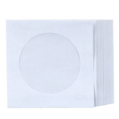 MAIKOU 12cm Transparent Film CD / DVD Paper Bags - White (50PCS)