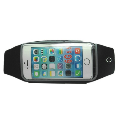"Waist Bag w/ 5.5"" Touch Mirror Screen for IPHONE 6 PLUS - Black"
