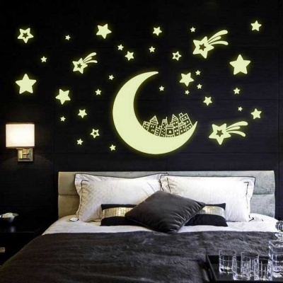 Y0016 Star Moon Wall Stickers - Black (30*45cm)