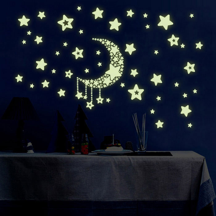 Y0015 Stars and Moon Pattern Wall Sticker - Blue (30*45cm)