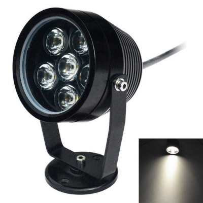 Jiawen 6W 6-LED Underwater Spotlight Lamp White Light 6500K - Black