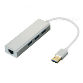 USB 3.0 to RJ45 1000M External Network Adapter + USB Hub - Silver