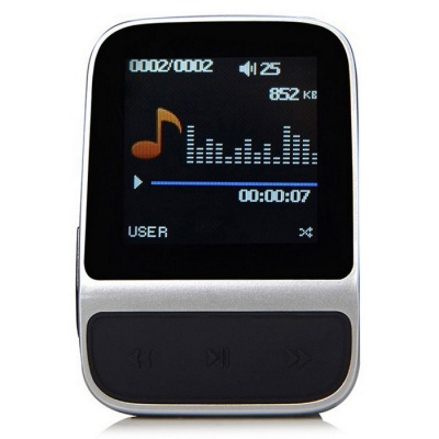 "Smart Sports MP3 Music Player Bracelet w/ 1.41"" TFT 8GB Memory - Silver + Black"