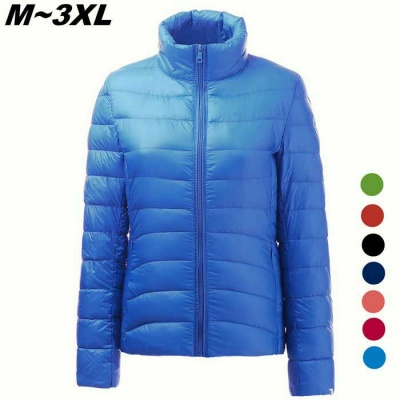 Women's Ultra Light Thin Down Jacket Coats - Sapphire Blue (XL)