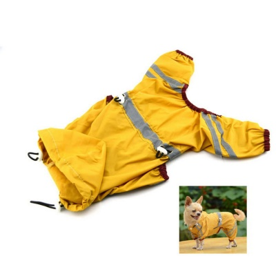 Glisten Bar Hoody Waterproof Raincoat Pet Dog Cat Jackets - Yellow (M)
