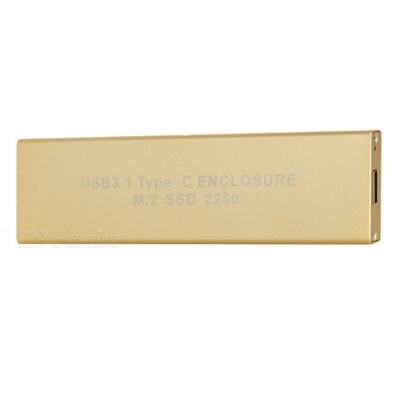 USB 3.1 Type-C to M.2 SSD HDD Enclosure - Light Golden (22*80cm)