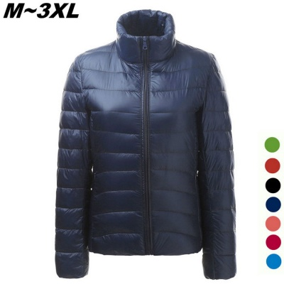 Women's Ultra Light Thin Down Jacket Coat - Navy Blue (M)