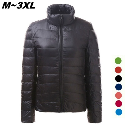 Women's Ultra Light Thin Down Jacket Coat - Black (XXXL)