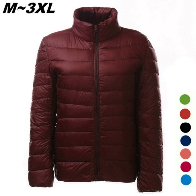 Women's Ultra Light Thin Down Jacket Coat - Wine Red (XXXL)