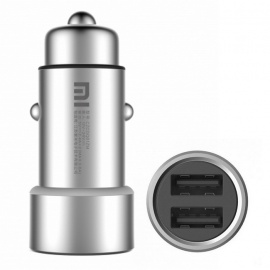 Xiaomi Metal 2-USB Fast Charging Car Charger for Power Supply - Silver