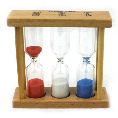 Wooden 1min 3min 5min Time Hourglass - Wood Color + Red + Multicolor