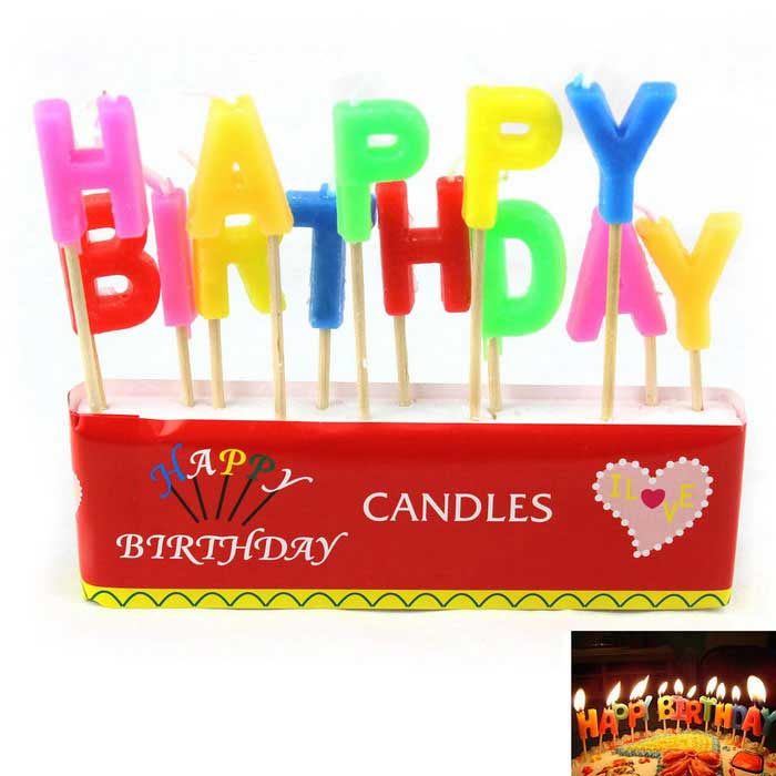 Happy Birthday English Letter Style Candle - Red + Multicolor (13PCS)