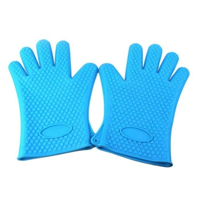 Silicone Microwave Oven Heat Insulation Gloves - Blue (Pair)