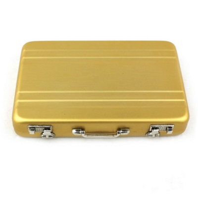 Mini Portable Safe Box Style Aluminum Alloy Card Case Holder - Golden