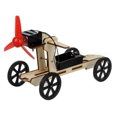 Wind Powered Car Assembly Educational Toy DIY Kit - Black + Red + Multi-Color (2 x AA)