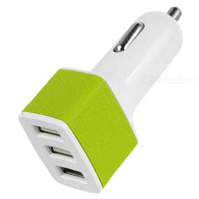 Universal 5V / 3A 3-Port USB Car Charger Power Adapter - White + Green