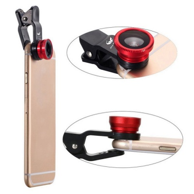 OldShark 0.67X Universal Clip-on 3-in-1 Fish Eye + Wide Angle + Macro Lens Kit for IPHONE & More