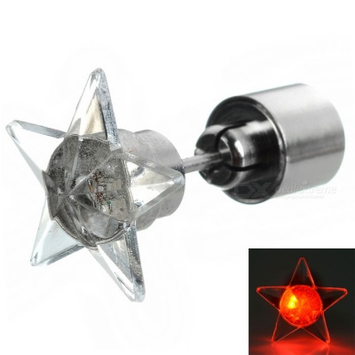 CTSmart Fashion Star Style Red Light LED Luminous Ear Stud Earring for Party / Bar - Silver