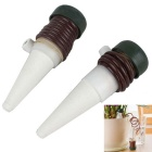 Houseplants Flowers Plants Automatic Watering System Self-Watering Device - White + Brown (2PCS)