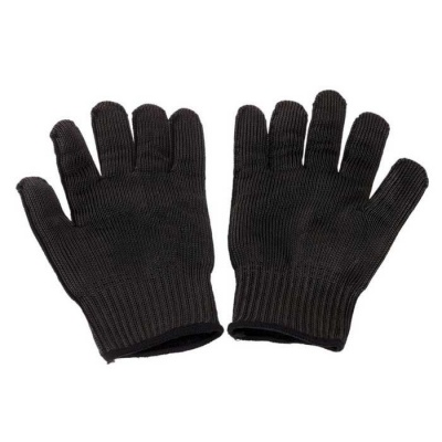 Stainless Steel Wires Anti-Abrasion Cut-Resistant Work Protective Safety Gloves - Black (Pair)