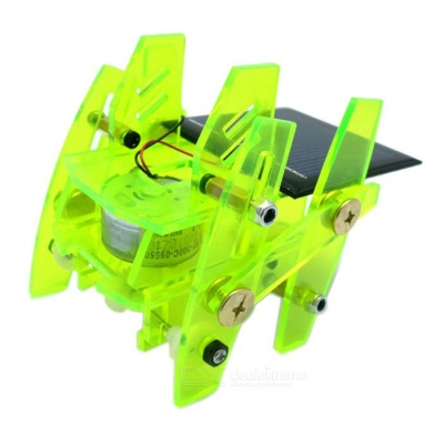 Solar Powered Assembly Robot DIY Kit Educational Toy - Fluorescent Green