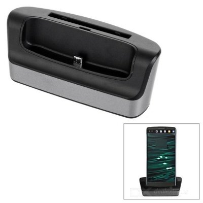 High Quality Dual Slots Charging Dock w/ Charging Cable for LG V10 - Black