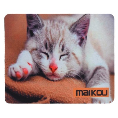 MAIKOU 21.8*18*0.2cm Lovely Cat Pattern Anti-Slip Non-Slip Mouse Pad Mat - Grey + White