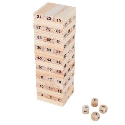 Mini Wiss Toys Balance 54 Wooden Blocks Toy - Wood Color