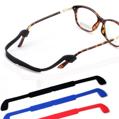 Silicone Glasses Sunglasses Fixing Sports Band Strap - Red + Blue + Black (3PCS)